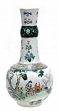 A Chinese famille verte vase with globular body