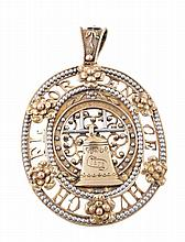 An Arts and Crafts oval commemorative pendant , circa 1900