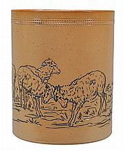 A Doulton Lambeth stoneware cylindrical vase, decorated by Hannah Barlow