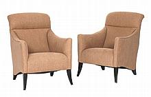 A pair of upholstered armchairs, Italian, 1950s, with stained wood legs
