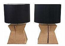 A pair of green oak wedge shape table lamps, late 20th century