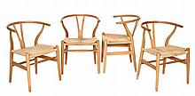 Hans Wegner for Fritz Hansen, a set of four CH24 Wishbone chairs, designed 1949