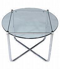 Ludwig Mies van der Rohe, an MR table, chromium plated steel and glass
