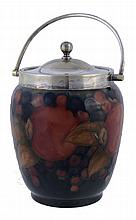 Pomegranate, a Moorcroft ovoid biscuit barrel, with electroplated swing handle