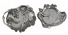 Two WMF pewter figural visiting card trays, the first model no