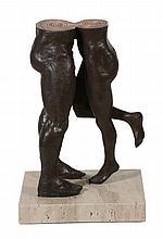 Lorenzo Quinn , a bronze sculpture entitled The Kiss , of two half torsos
