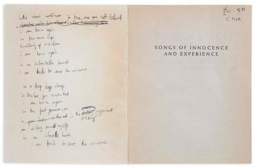 YORKE, (THOM) - Complete handwritten draft of the lyrics to 'Airbag' from...