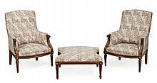 A French mahogany and gilt metal mounted suite of