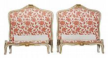Two cream painted single beds, in Louis XVI style,