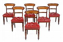 A set of six Victorian mahogany and red leather