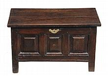 A George II oak coffer bach, circa 1750, the