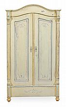 A Continental painted pine wardrobe, late 19th