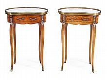 A pair of French kingwood, marble and gilt metal