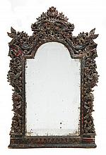 An Indian hardwood wall mirror, of recent
