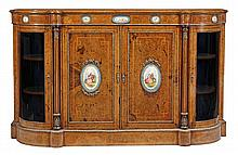 A Victorian walnut, marquetry, gilt and porcelain