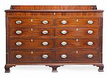 A George III mahogany 'mule' chest, circa 1800,