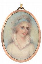 Anne Mee Portrait of Charlotte Middleton in a white dress and blue headband...