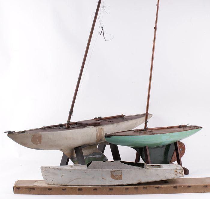 A wooden pond yacht, with a plank effect deck and