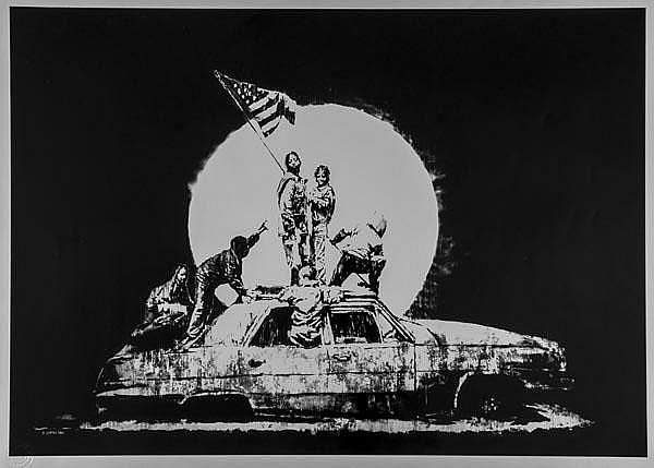 ARR Banksy (British, b.1975), Flag, silkscreen