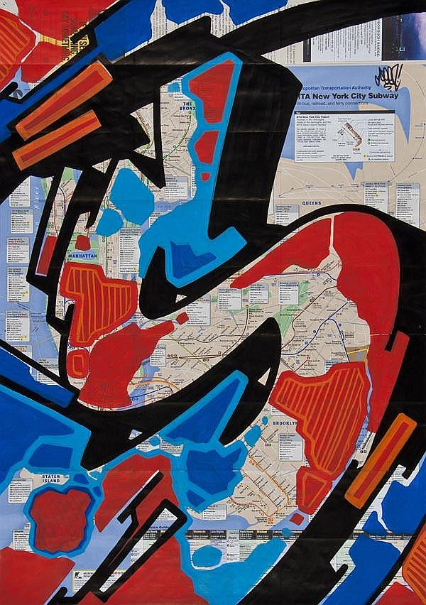 Seen (American, b.1961), Subway Map, Acrylic and