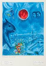 Marc Chagall (1887-1985)(after) - Vue de Paris avec Soleil rouge