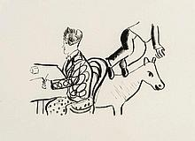 Marc Chagall (1887-1985) - At Table, Seated Man and Animal (m.35)