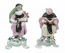 A pair of Bow porcelain models of a monk and a nun, 1760-65