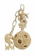 A Chinese ivory puzzle ball, late 19th/early 20th century