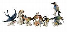 Eight various German porcelain models of birds, mid 20th century