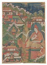 A rare Tibetan thangka of Shantirakshita, 17th-18th century