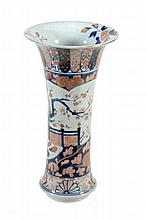An Arita Beaker Vase of typical form with trumpet neck