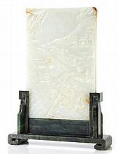 A white jade table screen, 19th century , the upright rectangular panel...