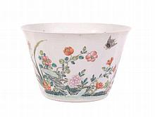 A Chinese famille verte flared bowl, 19th century, finely potted