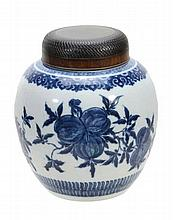 A Chinese blue and white ginger jar , painted with fruiting pomegranates