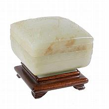 A celadon jade square box and cover, probably Qianlong