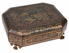 A Chinese export lacquer games box, 19th century