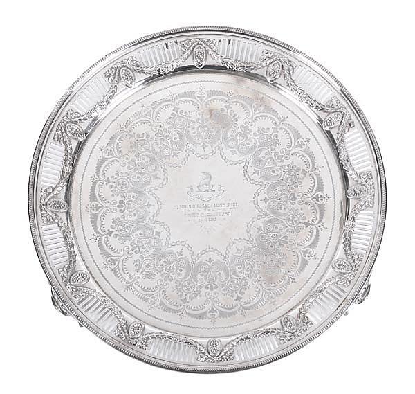 A Victorian silver circular salver by Sibray, Hall
