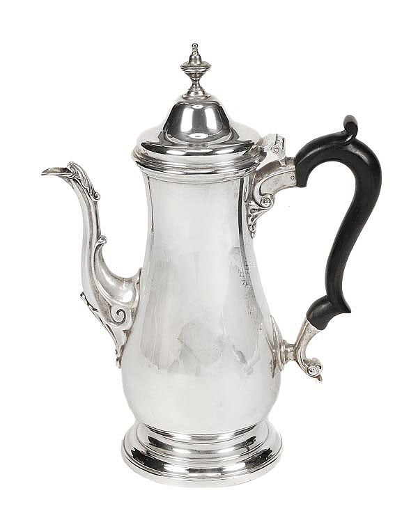 A silver baluster coffee pot by Robinson & Co.