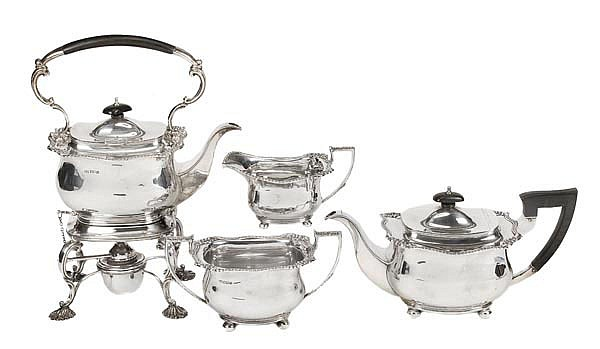 A matched silver oblong baluster four piece tea