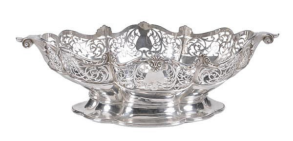 A silver lobed oval basket by James Dixon & Sons