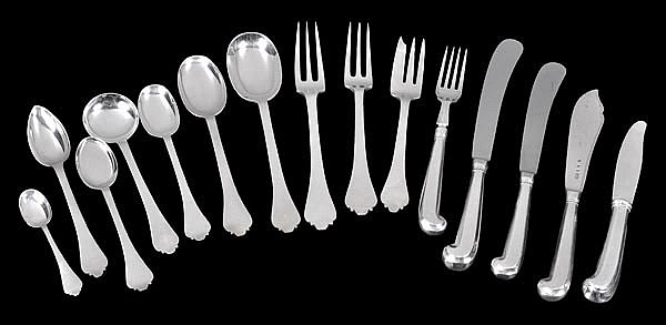 A silver trefid pattern table service by C. W.
