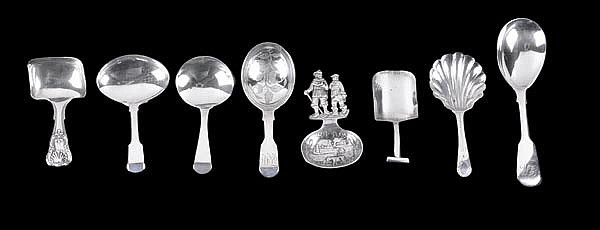 A collection of George III and later silver caddy