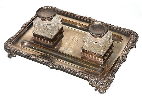 A late Victorian silver oblong inkstand by Thomas