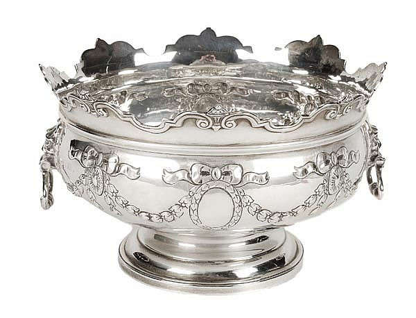 A silver two handled pedestal punch bowl by