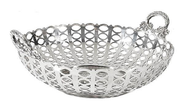 An Edwardian silver twin handled circular basket