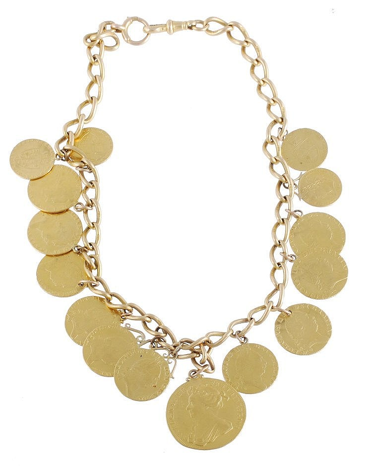 A gold coin necklace comprising George III Guineas , Half Guineas