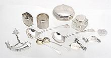A collection of silver, to include: a Victorian horn shaped snuff box, maker