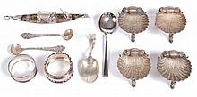 Four Victorian silver shell shaped salts by George Unite, Birmingham 1875