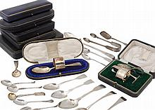 A collection of silver flatware, loose and cased examples, to include