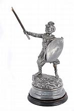An electro-plated inkwell in the form of a Zulu warrior by Mappin & Webb